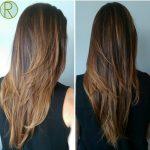 V Kesim Uzun Kadın Saç Modeli Örnekleri