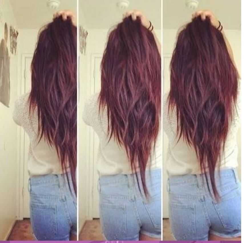 V Kesim Dalgalı Kızıl Saç Modelleri